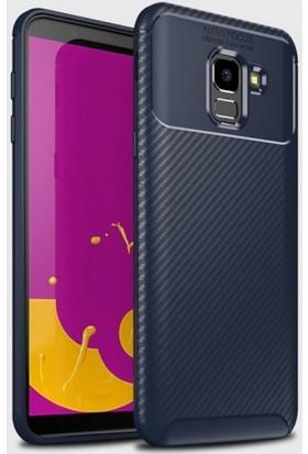 Aplus Samsung Galaxy J6 2018 Kılıf Silikon Esnek Karbon Görünümlü Negro Kapak - Lacivert