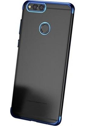 Aplus Huawei Y7 Prime 2018 Ultra İnce Şeffaf Dört Köşe Lazer Silikon Kılıf - Mavi