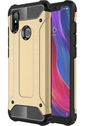 Aplus Xiaomi Mi 8 Kılıf Zırhlı Tam Koruma Silikon Crash Arka Kapak - Gold