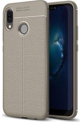Aplus Huawei P20 Lite Deri Görünümlü Tam Koruma Niss Silikon Kılıf - Gri