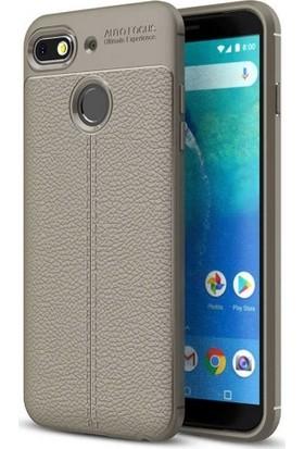 Aplus General Mobile GM 8 Go Deri Görünümlü Tam Koruma Niss Silikon Kılıf - Gri