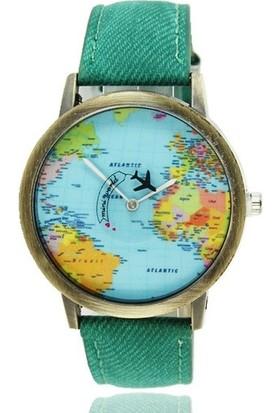 Jwl Dünya Haritası Desenli Uçak Figürlü Saniyeli Dünya Turu Unisex Kol Saati Yeşil