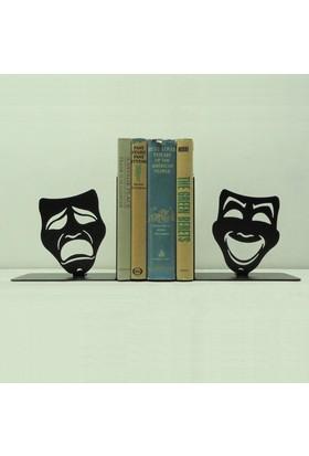 Simge Yapı Dekorasyon Maske Figürlü Dekoratif Metal Kitap Tutucu