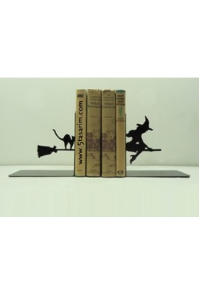 Simge Yapı Dekorasyon Süpürgeli Cadı Figürlü Dekoratif Kitap Tutucu