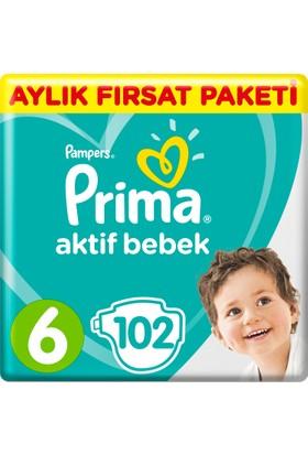 Prima Bebek Bezi Aktif Bebek 6 Beden Ekstra Large Aylık Fırsat Paketi Paket 102 Adet