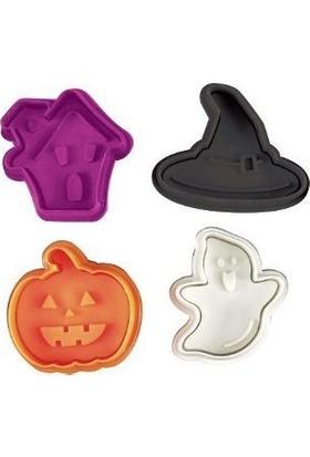 Pasta Cumhuriyeti Cadılar Bayramı Halloween Basmalı (Enjektörlü) Kurabiye Kalıbı (Kopat) - 4'lü