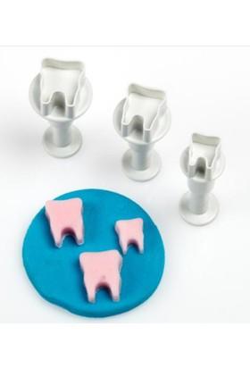 Mas Mutfak Mini Diş Basmalı Enjektörlü Kurabiye Kalıbı Kopat 3lü