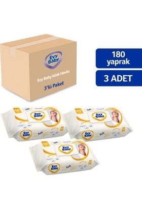 Evy Baby Islak Havlu Soft 3 x 60 Aylık Ekonomik Paket 180 Yaprak