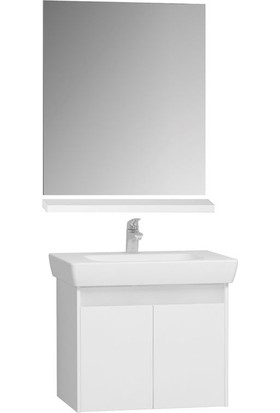 VitrA Step 65 Cm Demonte Banyo Dolabı Seti Beyaz (Lavabo Dolabı+Ayna+Raf)