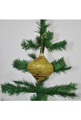 Can Yeni yıl 3lü Topaç Yılbaşı Ağacı Süsü Gold 8cm