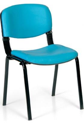 Coşkun Büro/26 Turkuaz Mavi-Deri Form Sandalye