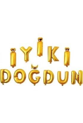 KBK Market Altın İyiki Doğdun Folyo Harf Balon Seti