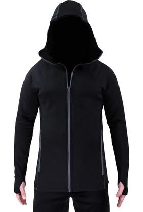 Sivugin Kapüşonlu Outdoor Sweatshirt Erkek Siyah + Polar Boyunluk Bere
