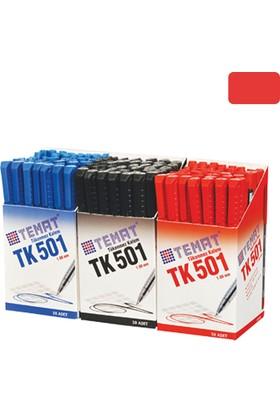 Temat Tk-501 Tükenmez Kalem 1,0 Mm Kırmızı 50 Li (1 Paket 50 Adet)