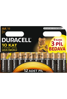 Duracell Pil Aa Kalem 12Li (9+3)