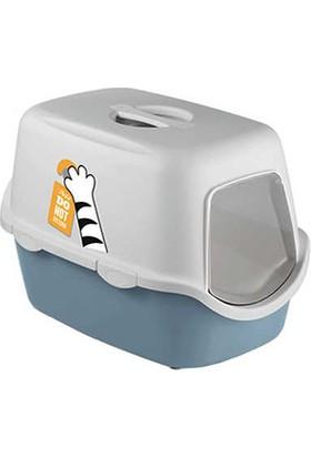 Stefanplast Cathy Kapalı Kedi Tuvaleti Çelik Mavisi/Beyaz