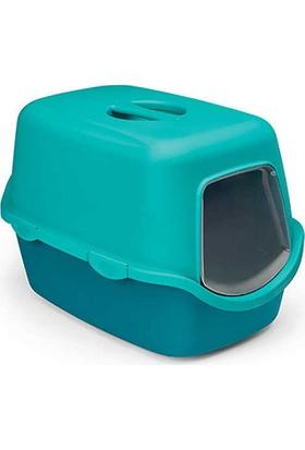 Stefanplast Cathy Kapalı Kedi Tuvaleti Ördek Mavisi/Nıagara Mavisi