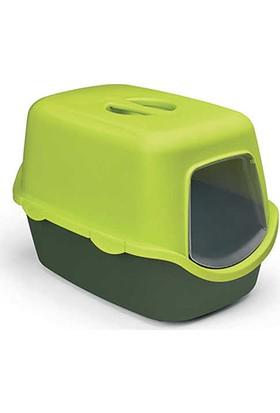 Stefanplast Cathy Kapalı Kedi Tuvaleti Çam Yeşili/Limon Yeşili