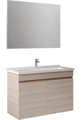 Kale Banyo Krea Banyo Dolabı Takımı (Ayna+Alt Dolap) 80cm Krem Meşe
