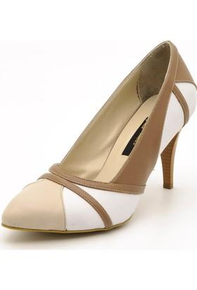 Costo Shoes 1358 Beyaz Kahve Büyük Numara Kadın Ayakkabısı