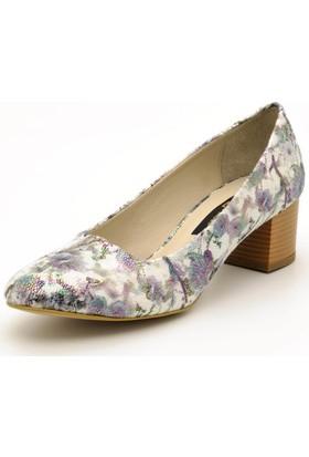 Costo Shoes 1453 Gri Çiçek Büyük Numara Kadın Ayakkabı