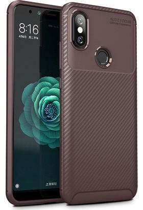 HappyShop Xiaomi Mi A2 Lite Kılıf Karbon Desenli Lux Negro Silikon + Cam Ekran Koruyucu