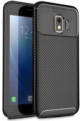 HappyShop Samsung Galaxy J2 Core Kılıf Karbon Desenli Ultra Korumalı Negro Silikon + Cam Ekran Koruyucu