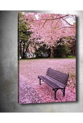 Yaylera Pembe Çiçekler Bank Temalı Kanvas Tablo 50*70 cm