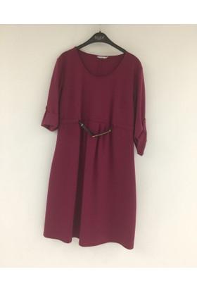 Daisy Mom Uzun Kol Hamile Elbise 5409 Fuşya