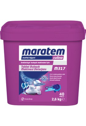 Maratem M317 Tablet Endüstriyel Bulaşık Makinesi Deterjanı 40 Tablet