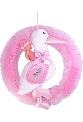 Can Çemberli Leylek Baby Shower Kapı Süsü Pembe 60*62cm