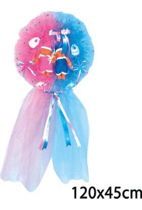 Can İkizlere Özel Yoğun Tüllü Yuvarlak Bebek Kapı Süsü Pembe Mavi (45*120cm)