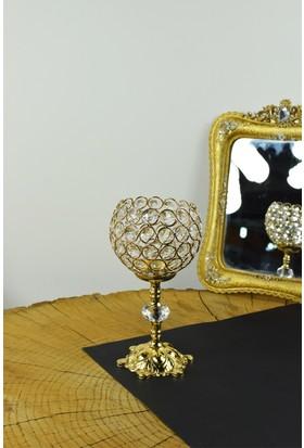 Cosiness Gold Petek Küçük Boy Şamdan 24 X 15 Cm