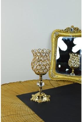 Cosiness Gold Hüma Küçük Boy Şamdan 24 X 10 Cm