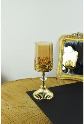 Cosiness Gold Kral Orta Boy Şamdan 32 X 11 Cm