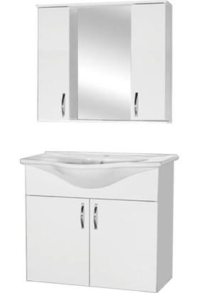 Orsabil Home Klasik 80 cm Mdf Banyo Dolabı Beyaz + Lavabo Bataryası Hediye