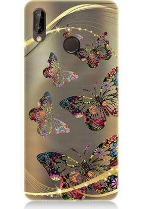Teknomeg Huawei P20 Lite Renkli Kelebekler Desenli Tasarım Silikon Kılıf