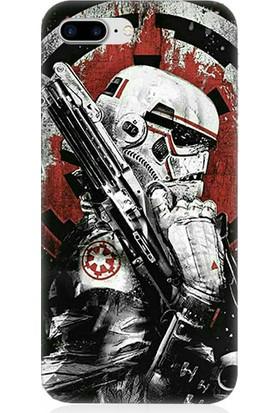 Teknomeg Apple iPhone 7 Plus Star Wars Storm Trooper Ve Silah Desenli Tasarım Silikon Kılıf