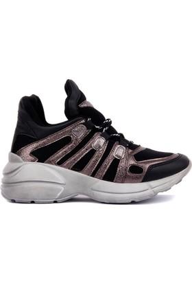 Moxee Siyah Platin Kadın Günlük Ayakkabı