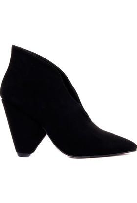 Moxee Siyah Süet Kadın Topuklu Bot