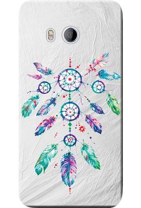 Kılıf Merkezi HTC U11 Life Kılıf Silikon Baskılı Renkli Tüyler STK:565