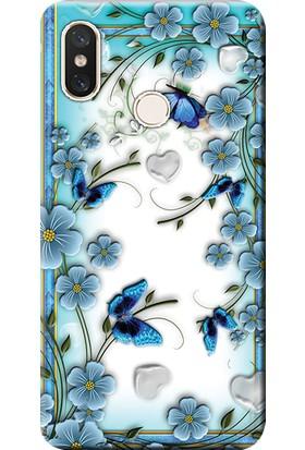 Kılıf Merkezi Xiaomi Redmi S2 Kılıf Silikon Baskılı Çiçek ve Kelebekler STK:547