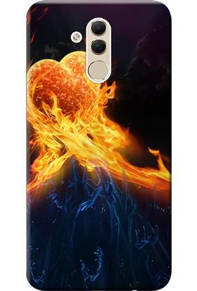 Kılıf Merkezi Huawei Mate 20 Lite Kılıf SNE-LX1 Silikon Baskılı Alevli Kalpler STK:127