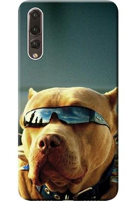 Kılıf Merkezi Huawei P20 Pro Kılıf CLT-L09 Silikon Baskılı Gözlüklü Pitbull STK:480