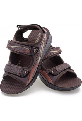 Gezer Kahverengi Kırmızı Bej Üç Cırtlı Erkek Sandalet