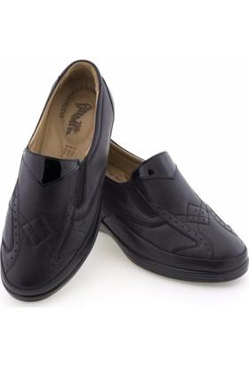 Palmiye Siyah Baklava Motifli Lastikli Ortopedik Diyabetik Kadın Ayakkabı