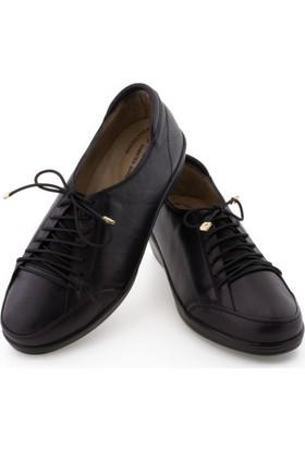 Armina Siyah Lastikli Bağcıklı Ortopedik Diyabetik Kadın Ayakkabı