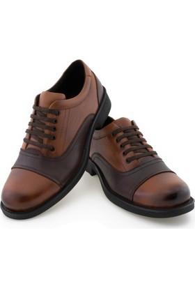 Libano Taba Kahve Parçalı Dikiş Detaylı Bağcıklı Erkek Ayakkabı