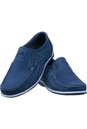 Günsel Lacivert Nubuk Burnu Dikişli Lastikli Günlük Erkek Ayakkabı