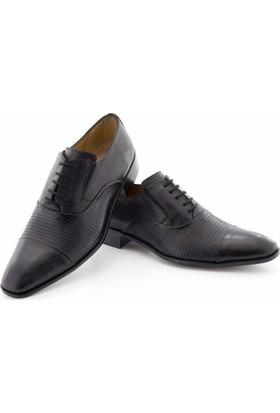 Özcoşkun Siyah Baskılı Deri Lastikli Bağcıklı Klasik Erkek Ayakkabı